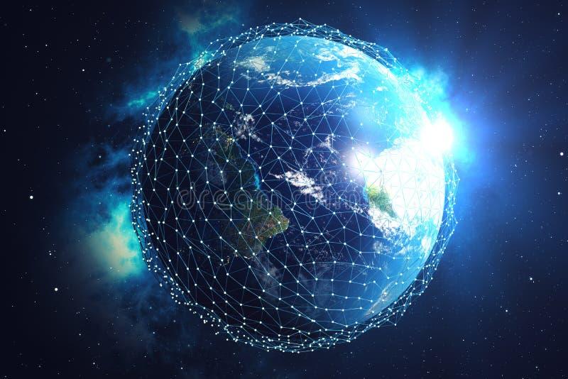 nätverk för tolkning 3D och datautbyte över planetjord i utrymme Anslutning fodrar runt om jordjordklotet blå soluppgång royaltyfri illustrationer