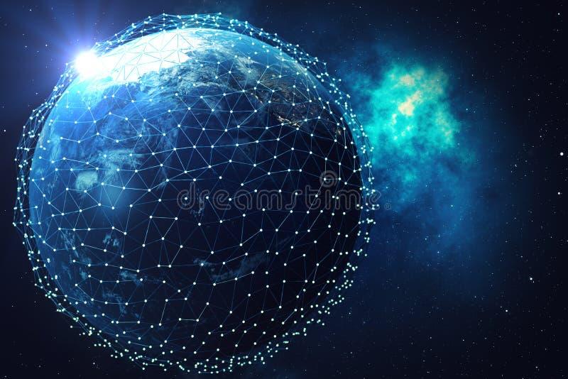 nätverk för tolkning 3D och datautbyte över planetjord i utrymme Anslutning fodrar runt om jordjordklotet blå soluppgång vektor illustrationer