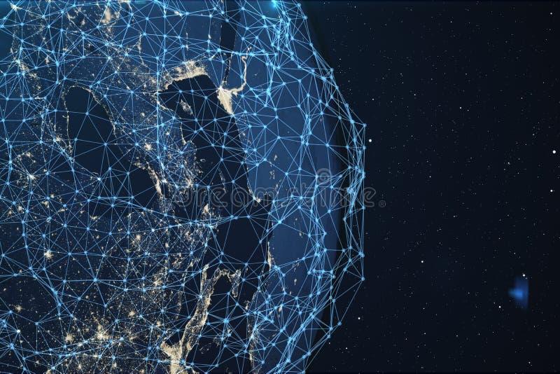 nätverk för tolkning 3D och datautbyte över planetjord i utrymme Anslutning fodrar runt om jordjordklotet globalt royaltyfri illustrationer