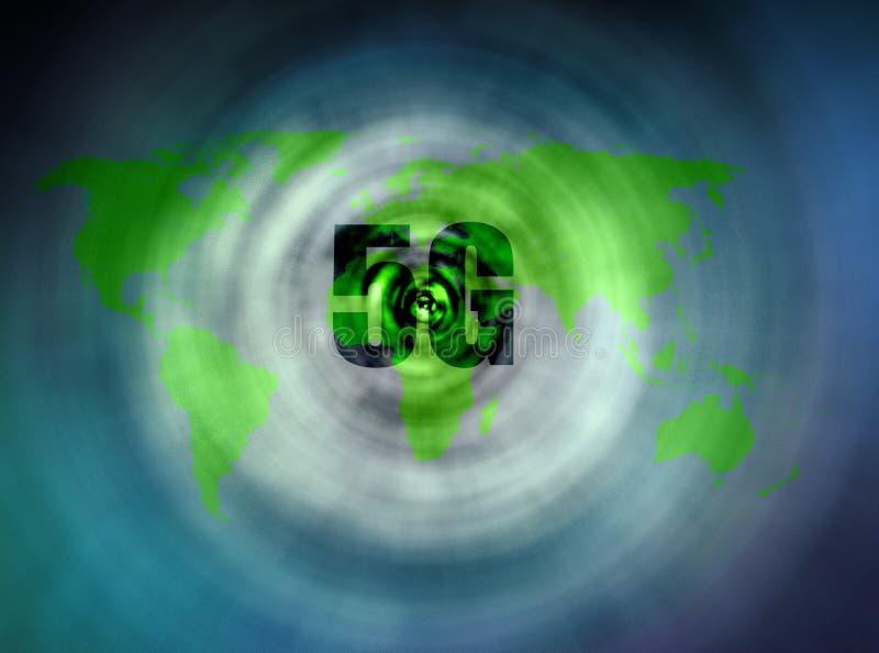 nätverk 5G för världskartor stock illustrationer