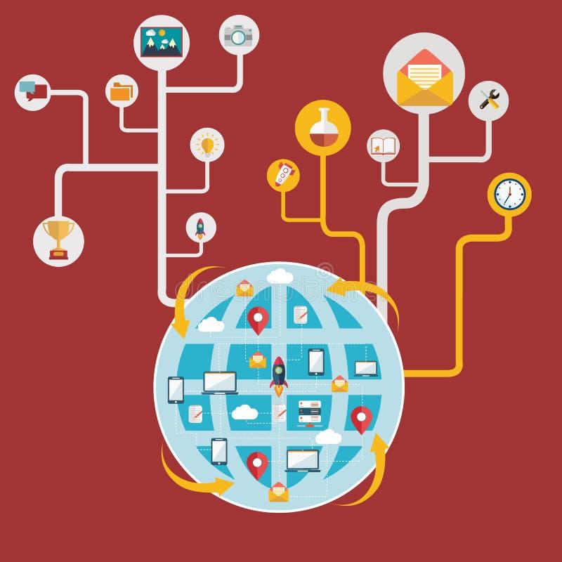 Nätverk och global kommunikation som förbinder världen stock illustrationer