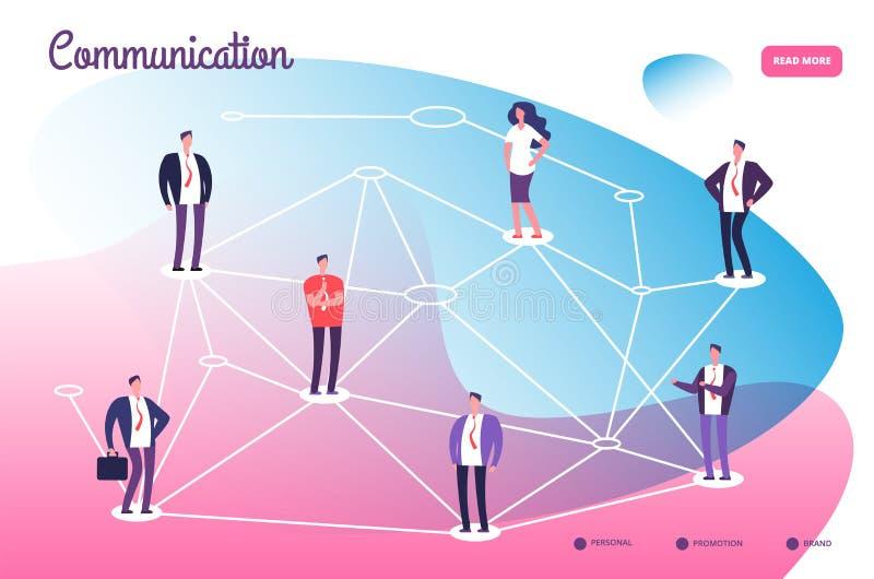 Nätverk som förbinder yrkesmässigt folk Teamworkanslutning för global kommunikation och knyta kontakt teknologivektorn stock illustrationer