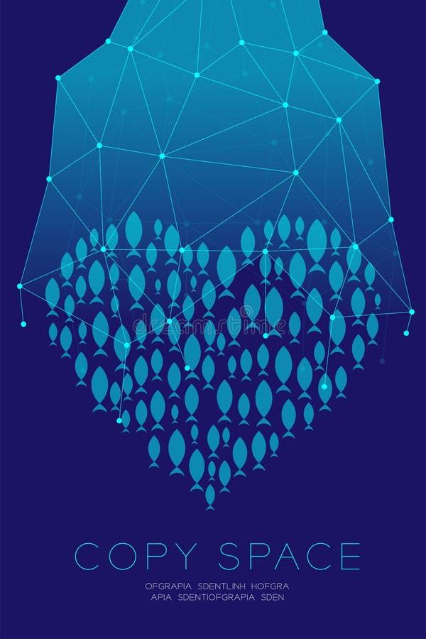 Nätverk som marknadsför online-uppsättningadvertizing med fisknät stock illustrationer