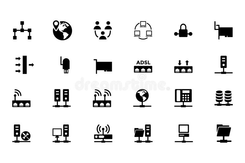 Nätverkandevektorsymboler 2 stock illustrationer