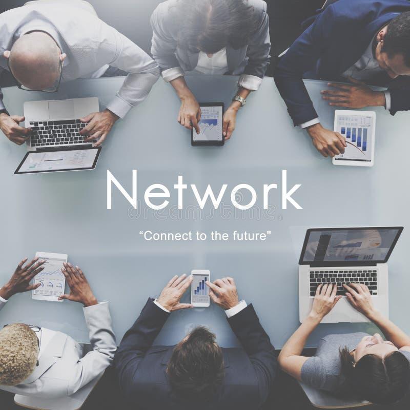 Nätverket förbinder det framtida strategiinnovationbegreppet arkivbild