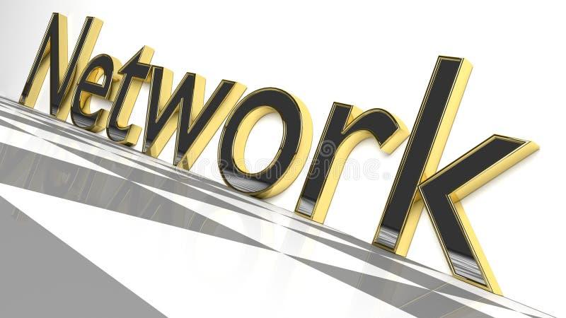 Nätverket undertecknar in guld- och glansiga brev vektor illustrationer