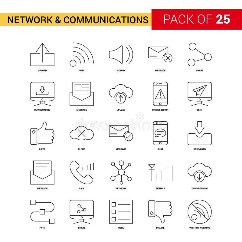 Nätverks- och kommunikationssvartlinje symbol - översikt för 25 affär royaltyfri illustrationer