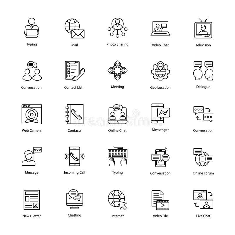 Nätverks- och kommunikationssymbolsuppsättning royaltyfri illustrationer