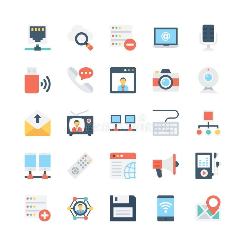 Nätverks- och kommunikationsvektorsymboler 3 royaltyfri illustrationer