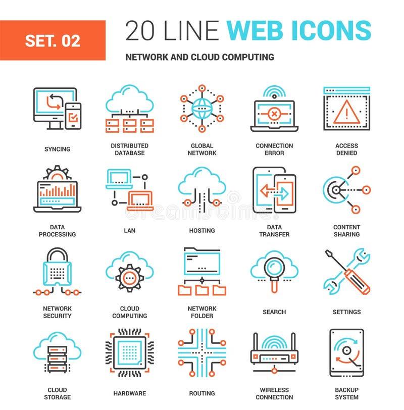 Nätverks- och molnteknologi royaltyfri illustrationer