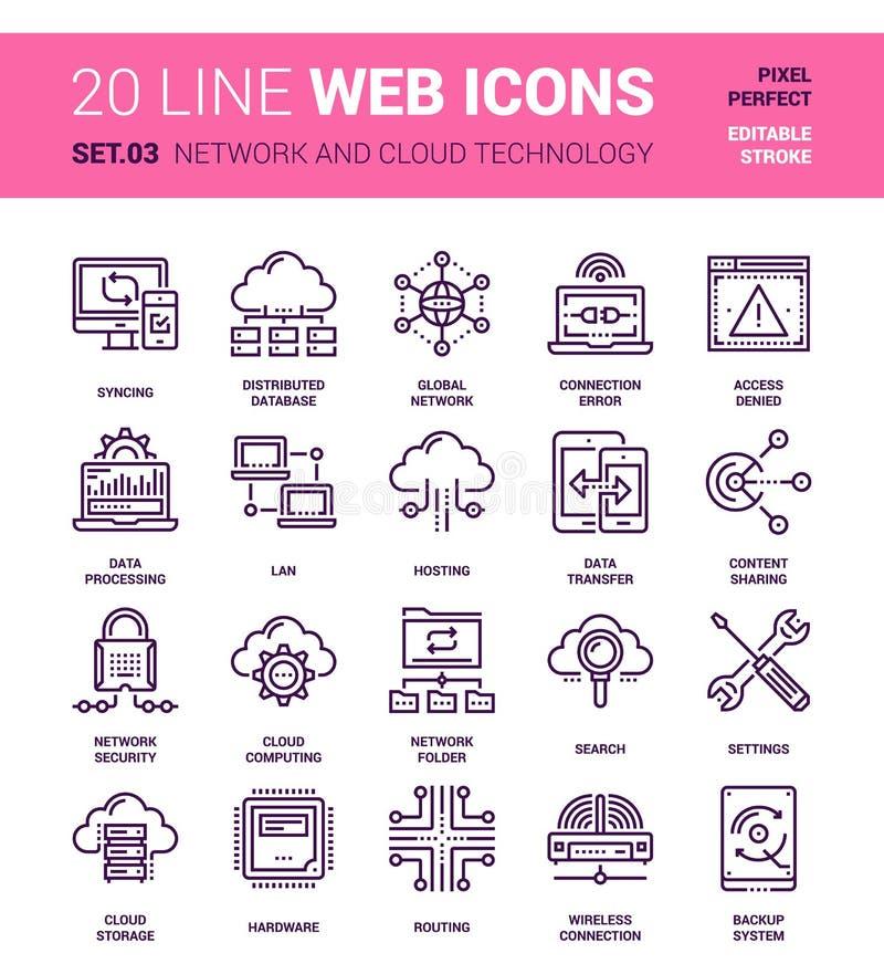 Nätverks- och molnteknologi stock illustrationer
