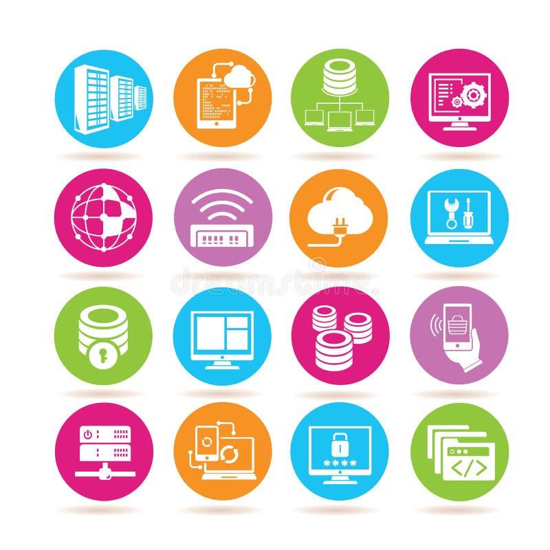nätverks- och serversymboler stock illustrationer
