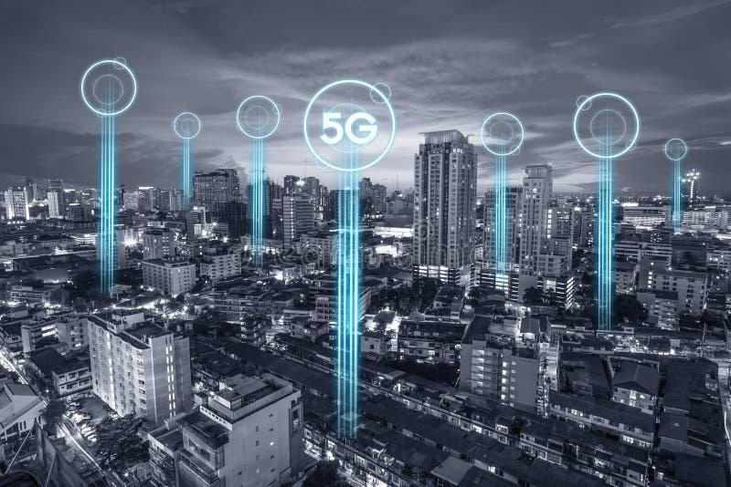 nätverksanslutning för kommunikation 5g för internetbegrepp eller teknologibegrepp E royaltyfri foto