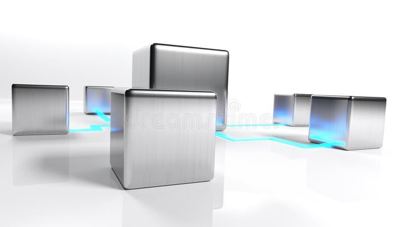 Nätverksbegrepp med metalliska objekt förbindelse på vit bakgrund - illustration för tolkning 3D stock illustrationer