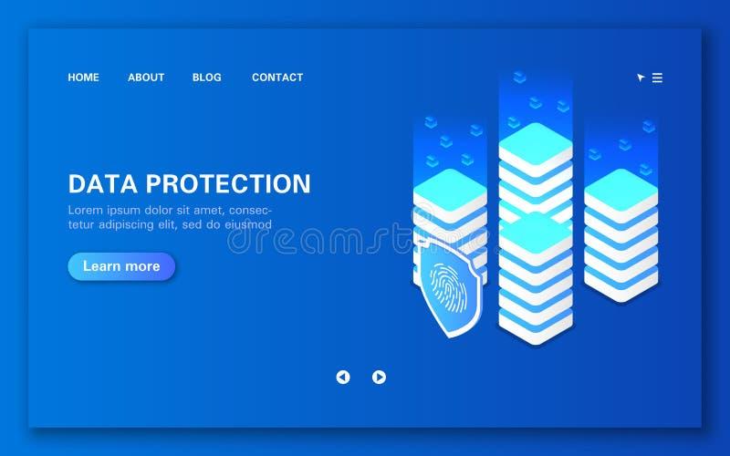 Nätverksdataskydd och bearbetabegrepp Blochain teknologi stock illustrationer