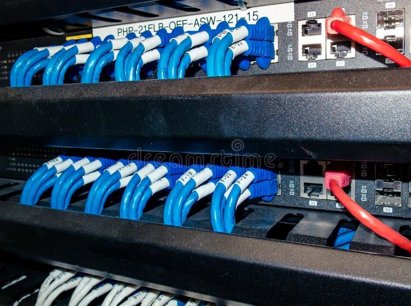 Nätverkskablar i ett serverrum arkivbilder