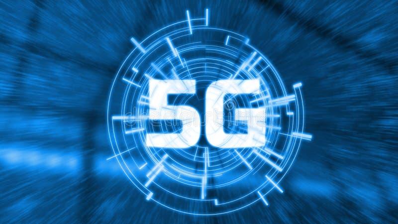 nätverksradio för teknologi 5G med mycket toppen snabb hastighet för bandbredd för datakommunikation Glödande LEDD logo med futir stock illustrationer