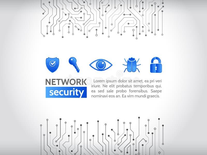 Nätverkssäkerhetssymboler Tekniskt avancerad teknologibakgrundstextur royaltyfri illustrationer