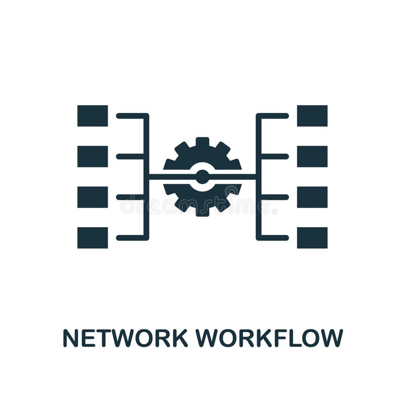 nätverksworkflowsymbol Monokrom stildesign från stor datasymbolssamling Ui För pictogramnätverk för PIXEL perfekt enkel workflow royaltyfri illustrationer