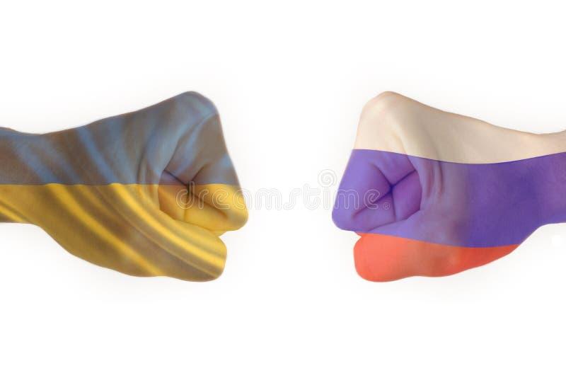 Nävar av Ukraina mot den Ryssland isolaten arkivfoto