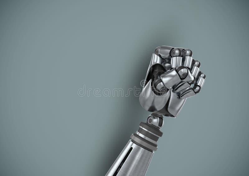 Näve för Android robothand med blå bakgrund stock illustrationer