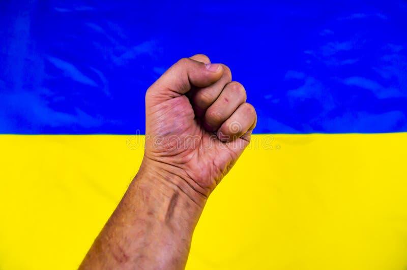 Näve på bakgrunden av den ukrainska flaggan - självständighetsdagen arkivbilder