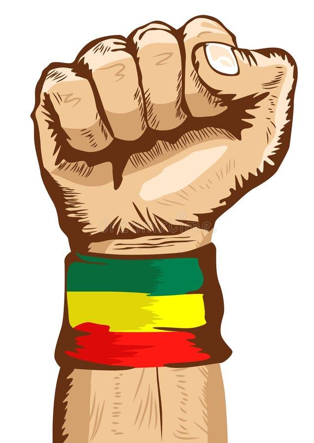 Näven som bär en flagga av det Etiopien armbandet, grep hårt om tätt stock illustrationer