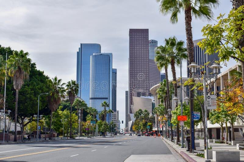 Någon boulevard i i stadens centrum Los Angeles arkivbilder