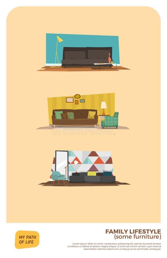 Någon möblemanguppsättning stock illustrationer