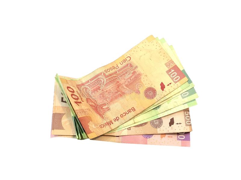Någon mexikansk peso 100 200 500 och 1000 räkningar som isoleras på vit bakgrund royaltyfri fotografi