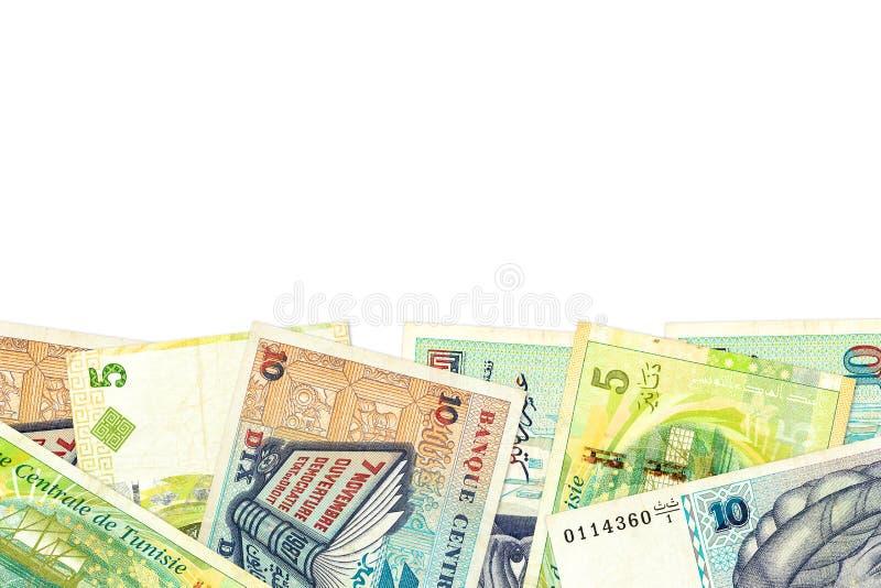 Någon sedel för tunisian dinar 5 och 10 med copyspace royaltyfri bild