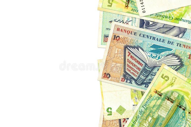 Någon sedel för tunisian dinar 5 och 10 med copyspace royaltyfri foto