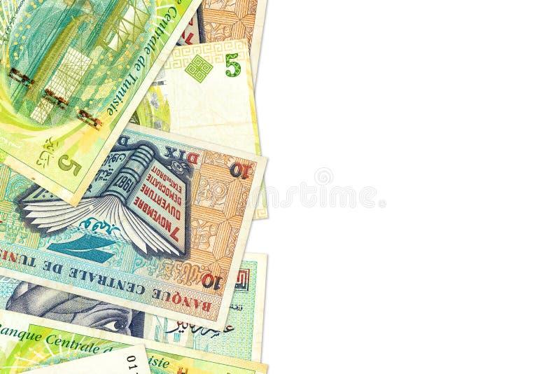Någon sedel för tunisian dinar 5 och 10 med copyspace arkivbilder