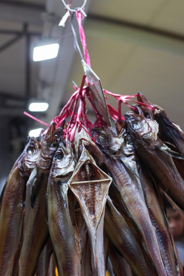 Någon torkad fisk band och ordnar till för att säljas i en marknad royaltyfri fotografi