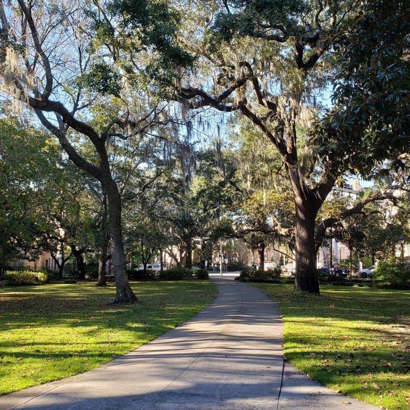 Någonstans i trädgården av bra och onda Savannah Georgia - Forsyth parkerar royaltyfria foton