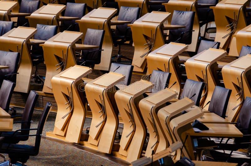 Några av medlemplatserna i skotska parlamentet royaltyfri foto