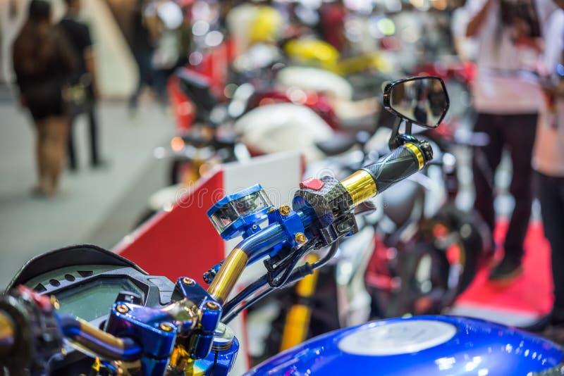 Några delar av motorcykeln i händelse för bilshow royaltyfri bild