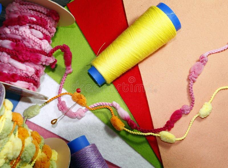 Några handcraft material royaltyfria bilder