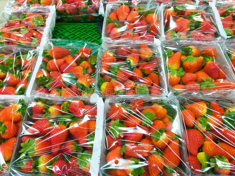 några plast- askar som var fulla av röda jordgubbar som sloggs in med genomskinlig plast- på en grön hylla på marknaden skördade  arkivfoton