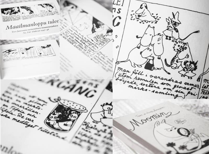 Några sidor från den första boken från Moomin komiker royaltyfri fotografi
