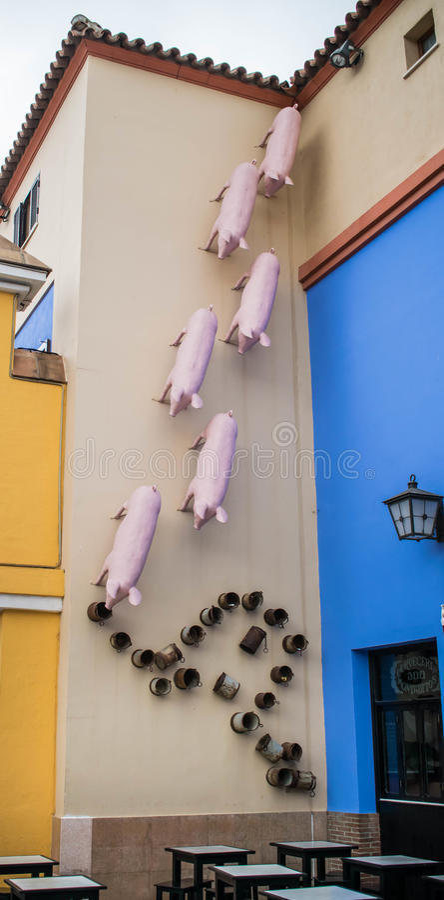 Några svin som omkring hänger arkivbild