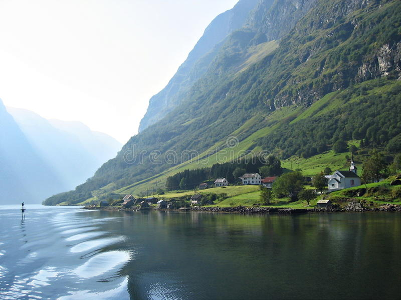 The Nærøyfjord. These dramatic fjords are the grandest landscapes in a country of spectacular fjords, and the rivers which enter them have not been royalty free stock photo