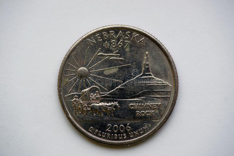 ` Nébraska de Washington Quarter de ` du 1/4 dollar images libres de droits
