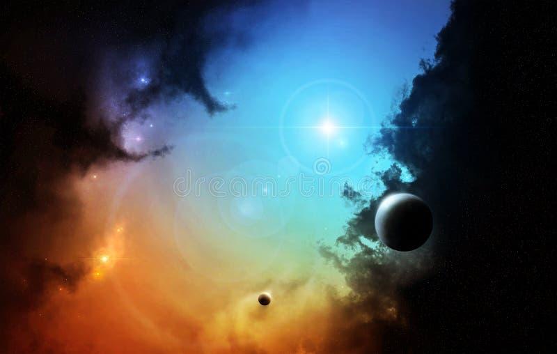 Nébuleuse d'espace lointain d'imagination avec la planète illustration de vecteur