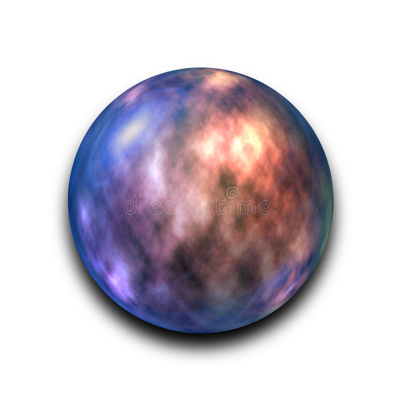 Nébuleuse et galaxie abstraites d'isolement dans la boule en verre sur le fond blanc avec le chemin de coupure illustration libre de droits
