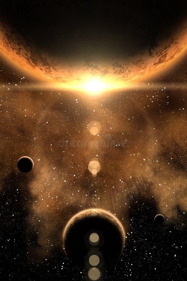 Nébuleuse et planète illustration stock