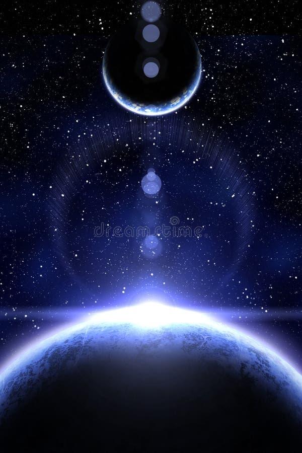 Nébuleuse et planète deux bleues illustration de vecteur