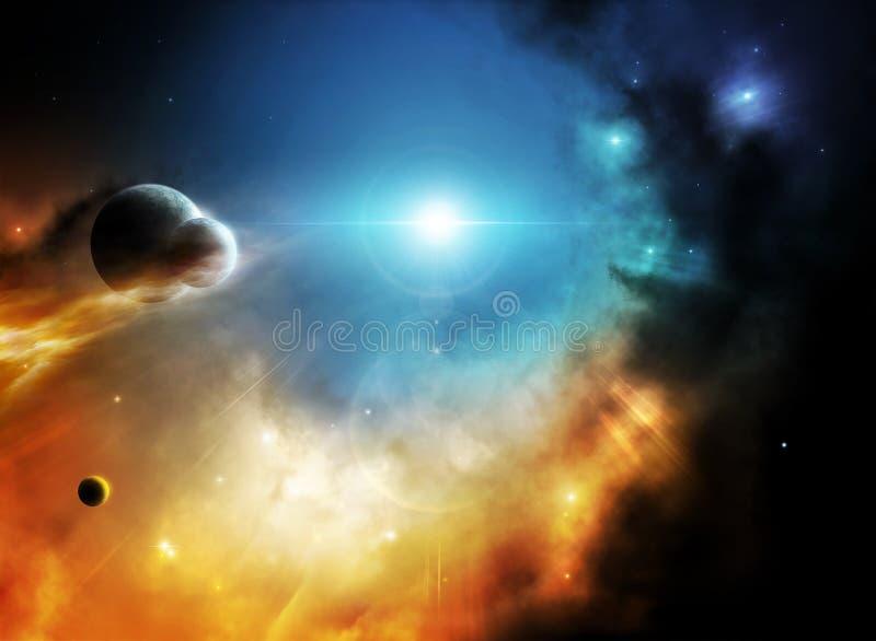 Nébuleuse lointaine d'imagination d'espace lointain avec des planètes illustration stock