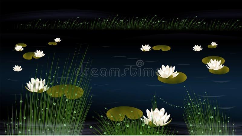 Nénuphars dans un étang illustration de vecteur