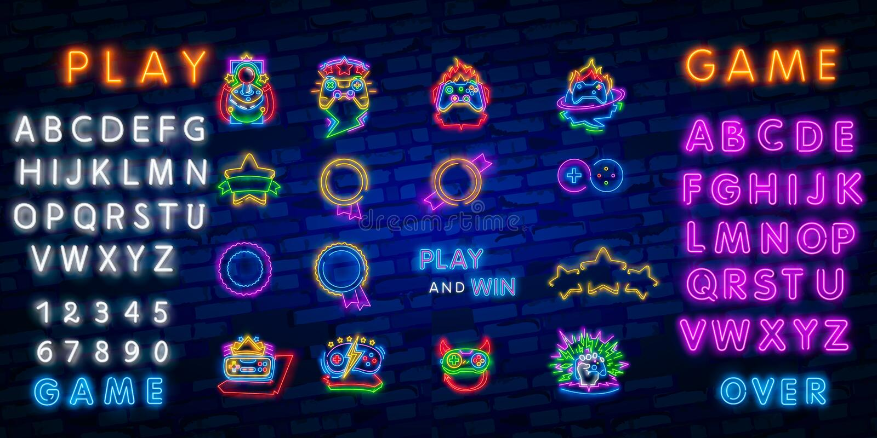 Néon ajustado grande para cantar Etiqueta e logotipo da sala de jogo Bandeira, logotipo, emblema e etiqueta do Gamer Quadro indic ilustração do vetor